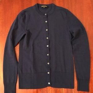 Brooks Brothers blue merino wool cardigan